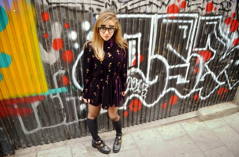 Chic look purple dress piensa en chic - Madrid chic style ...