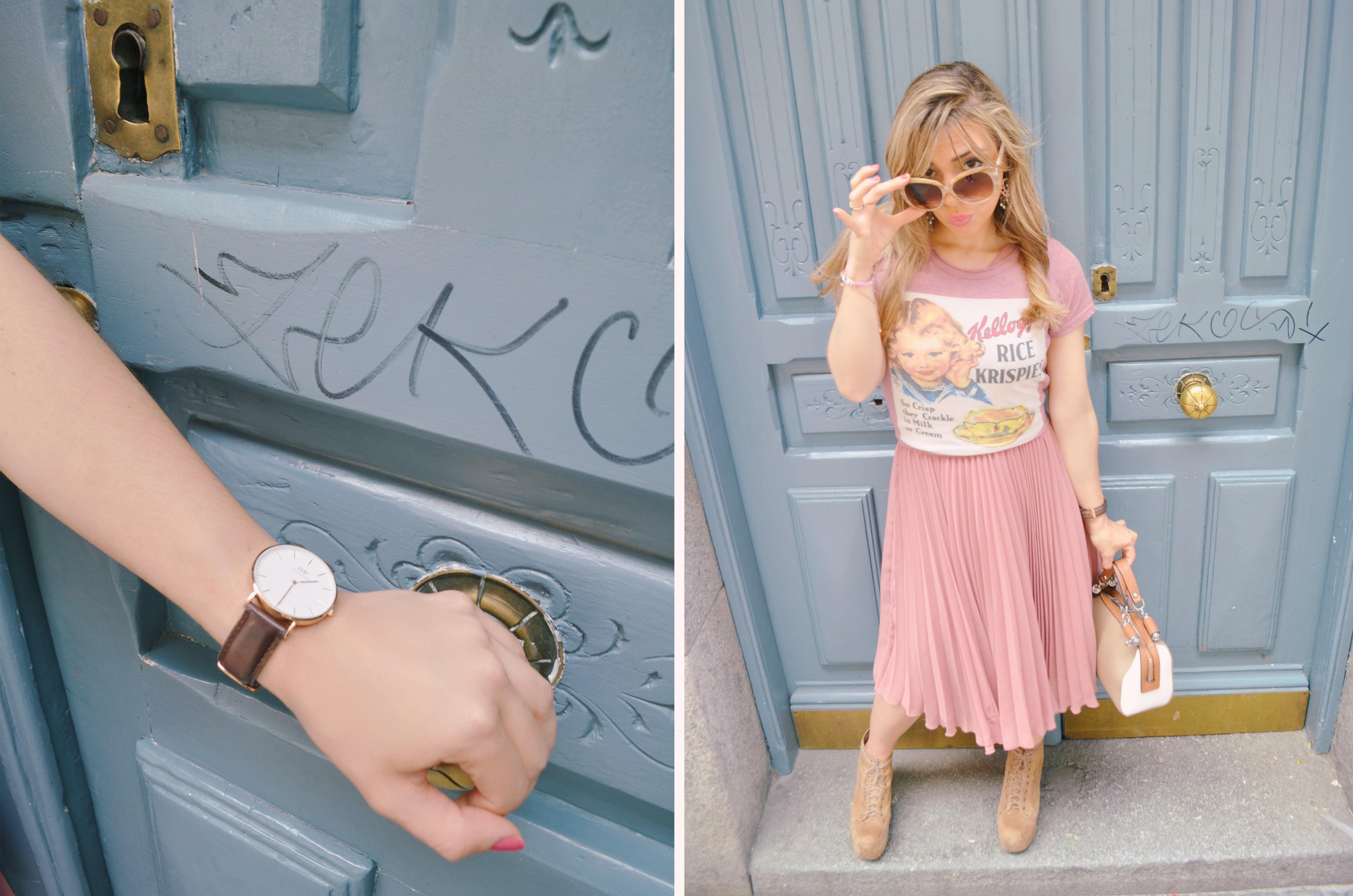 Reloj-Daniel-Wellington-blog-de-moda-fashionista-Pepe-Moll-outfit-con-falda-plisada-rosa-cuarzo-look-PiensaenChic-Piensa-en-Chic