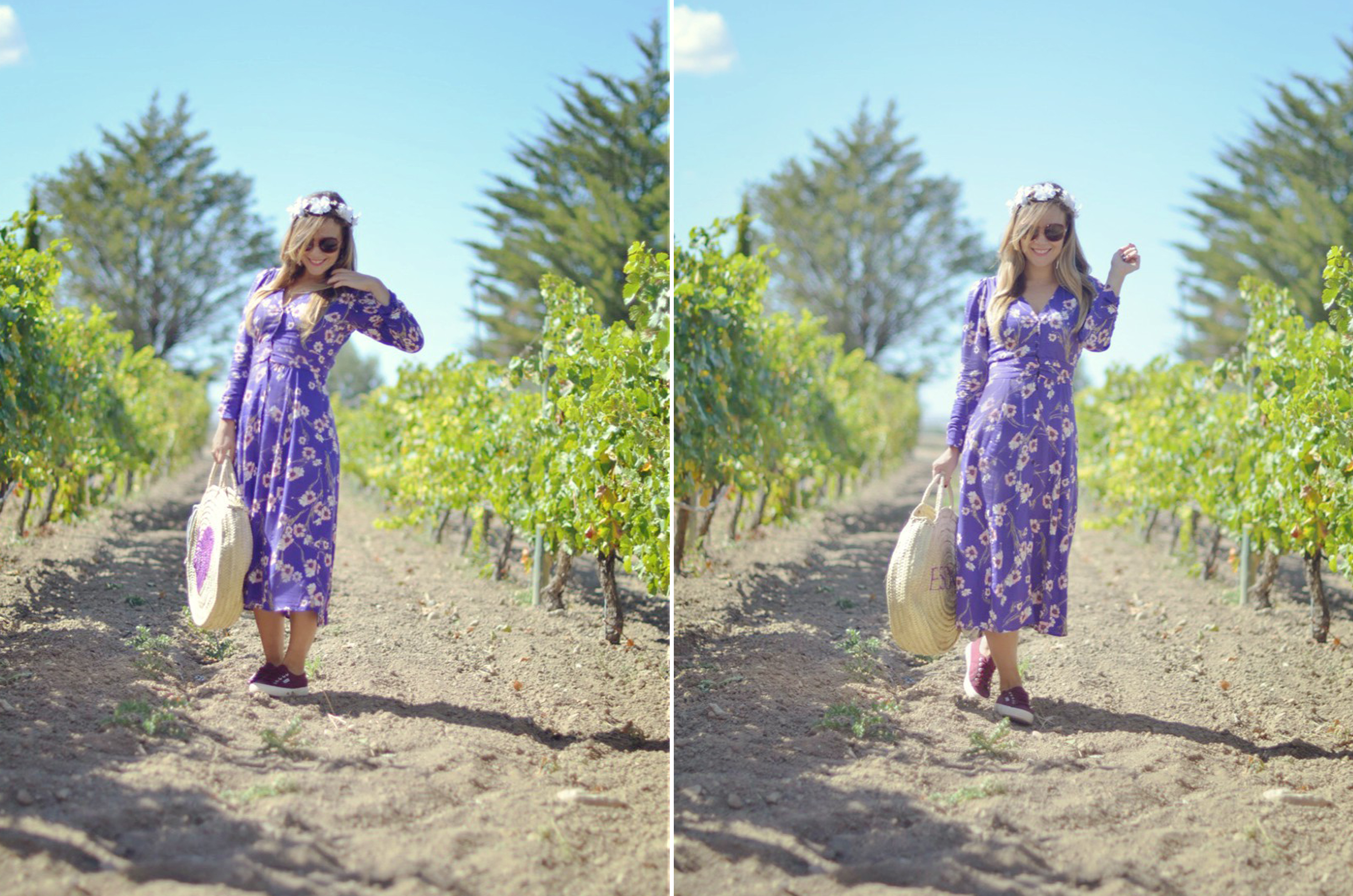 Fashionista-blog-de-moda-ChicAdicta-Esdor-Chic-Adicta-zapatillas-superga-look-morado-vestido-de-flores-PiensaenChic-influencer-Piensa-en-Chic