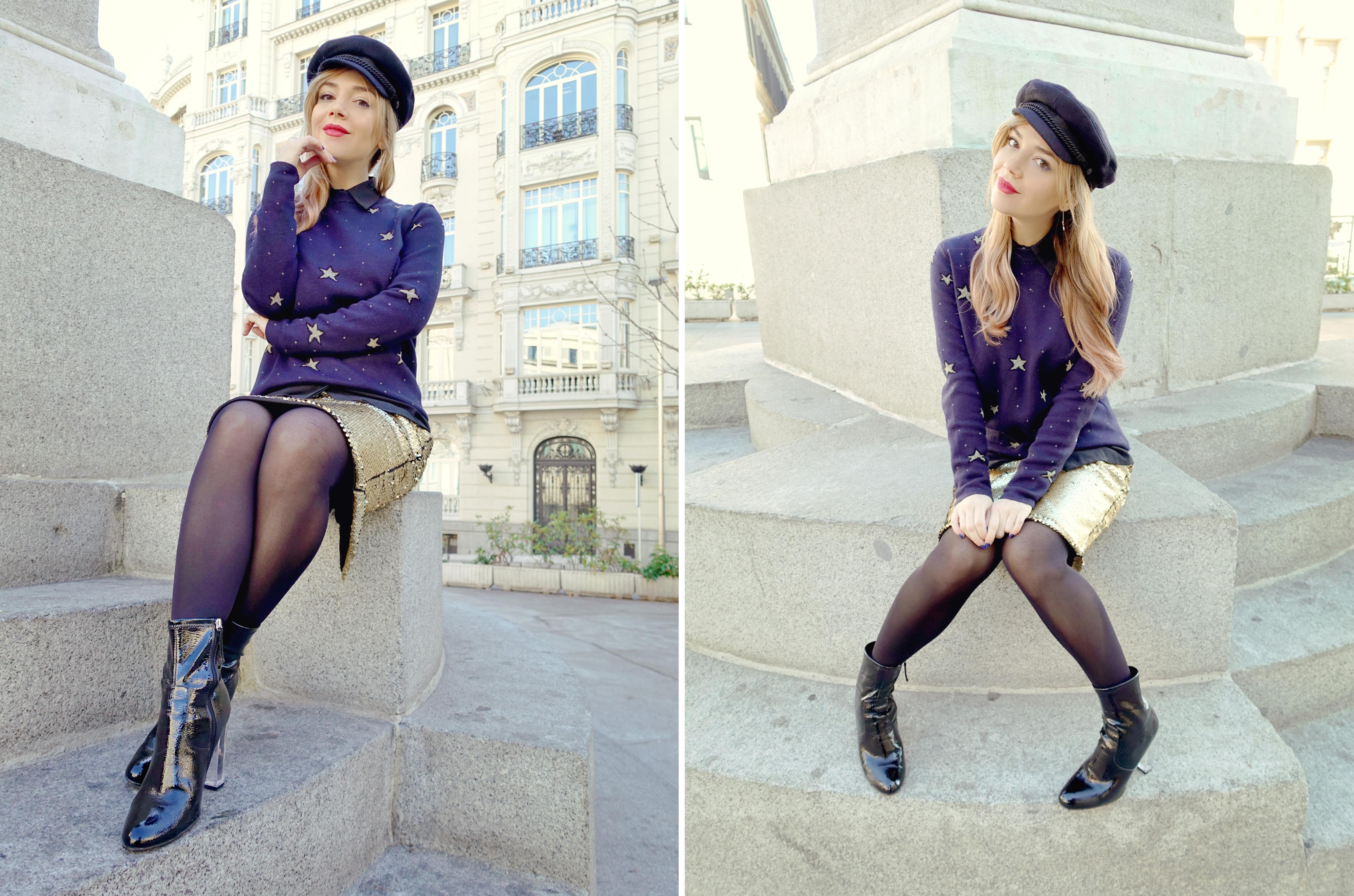 Blog-de-moda-fashionista-Madrid-ChicAdicta-jersey-de-estrellas-amichi-Chic-Adicta-falda-dorada-bijou-brigitte-earrings-PiensaenChic-Piensa-en-Chic