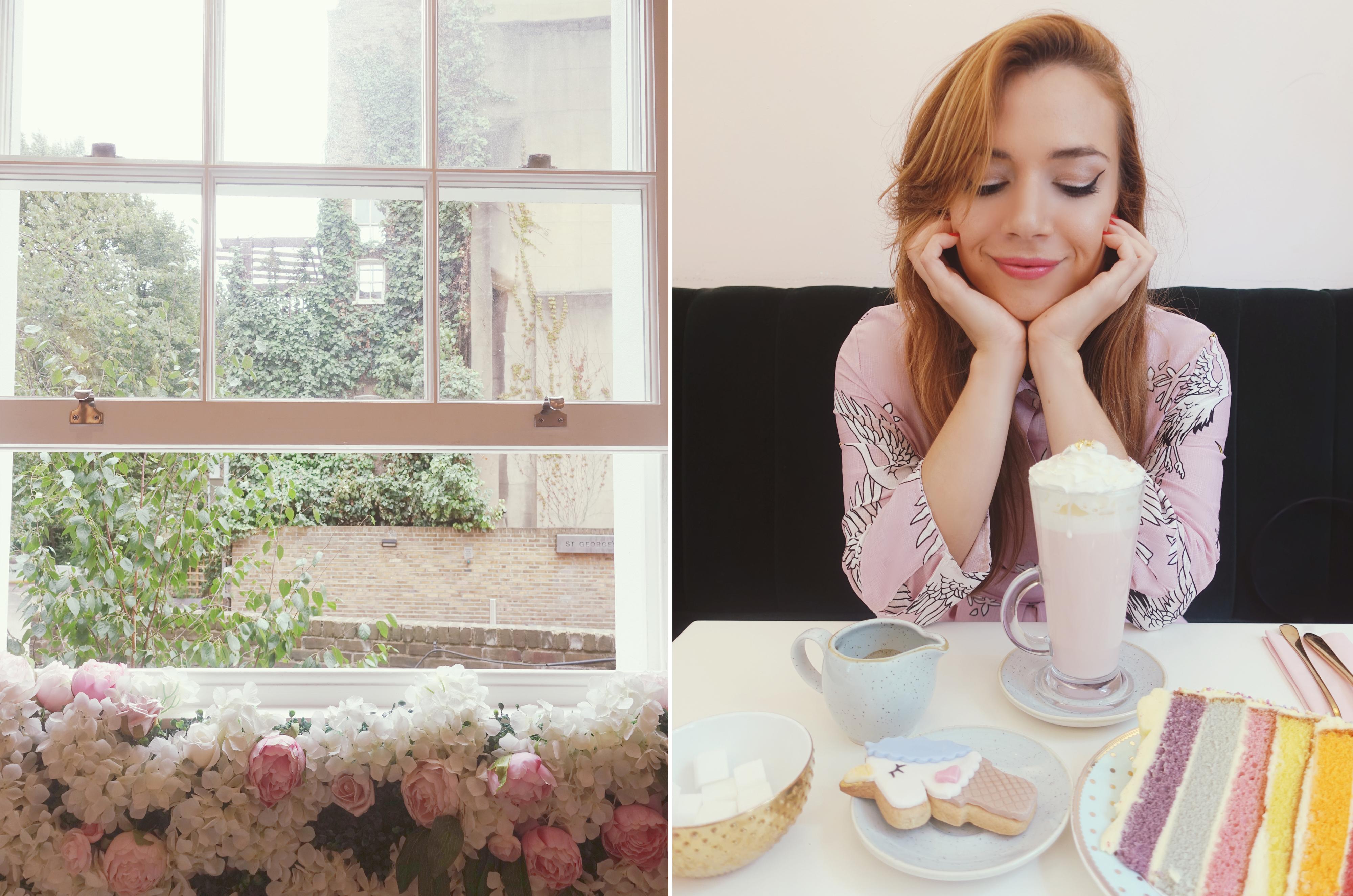saint-aymes-pink-cafe-london-PiensaenChic-influencer-ChicAdicta-blog-de-moda-vestido-smile-look-rosa-fashion-travel-Chic-adicta-Piensa-en-Chic-unicorn-cookie-tarta-de-arcoiris